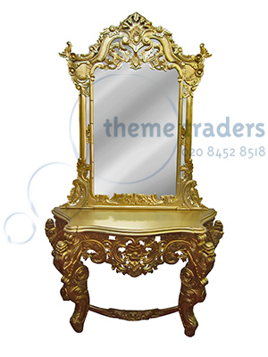 Gold Dressing table and mirror Props, Prop Hire