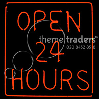 Open 24 Hours Neons Props, Prop Hire
