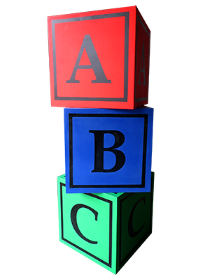 Building Blocks abc oversize Props, Prop Hire
