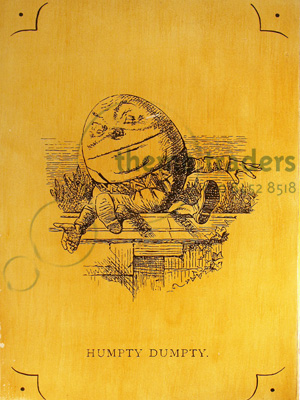 Alice Etchings Humpty Dumptys Props, Prop Hire