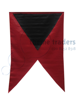 Banners Small Black on Red Props, Prop Hire