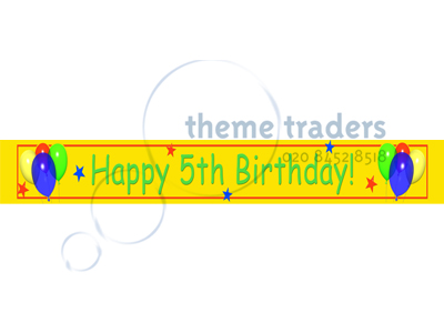 Happy 5th Birthday Banners Props, Prop Hire