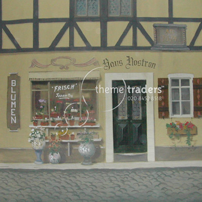 Bavarian Flower Shop Backdrops Props, Prop Hire
