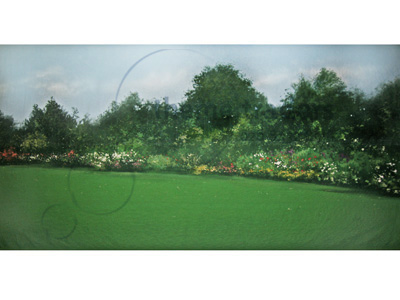 Countryside House Garden Backdrops Props, Prop Hire