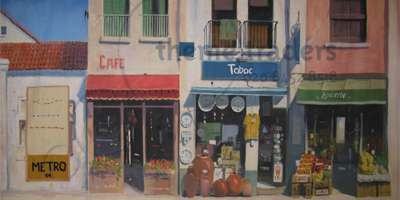 French Shops Street Scene backdrops Props, Prop Hire